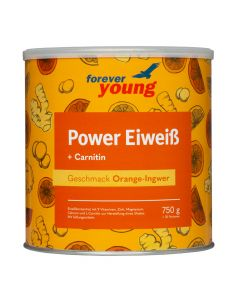 forever young power eiweiss Dose Orange-Ingwer