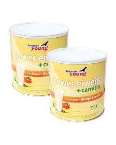 forever young power eiweiss Dosen 2er-Set, Mango-Limette